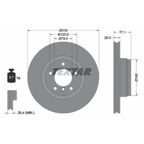 Bremsscheibe Bremsscheibendicke: 28mm, Ø: 316mm mit OEM-Nummer 3411 1 162 093