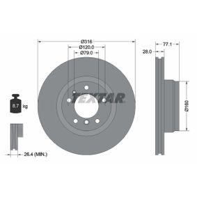Bremsscheibe Bremsscheibendicke: 28mm, Ø: 316mm mit OEM-Nummer 34116757753
