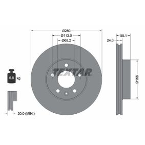 Bremsscheibe Bremsscheibendicke: 24,0mm, Ø: 280mm mit OEM-Nummer 7D0615301A