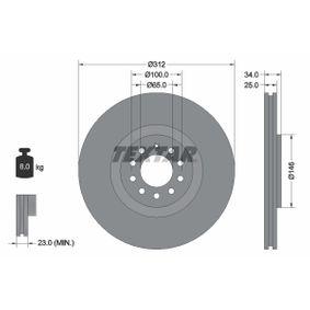 Bremsscheibe Bremsscheibendicke: 25,0mm, Ø: 312mm mit OEM-Nummer 8N0 615 301 A