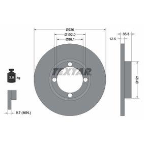 TEXTAR PRO 92100303 Bremsscheibe Bremsscheibendicke: 12,5mm, Ø: 236mm