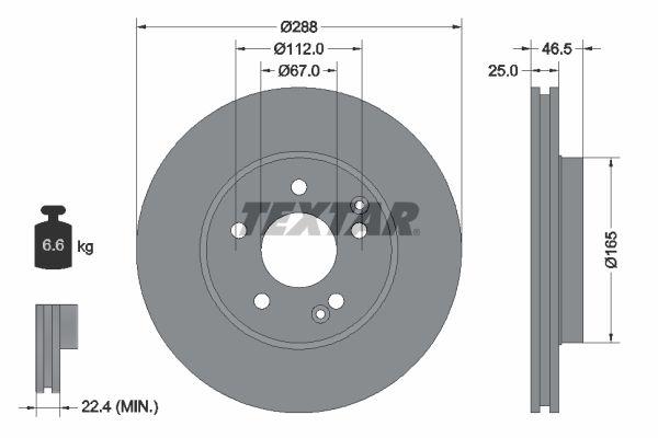 TEXTAR PRO+ 92105905 Bremsscheibe Bremsscheibendicke: 25mm, Ø: 288mm