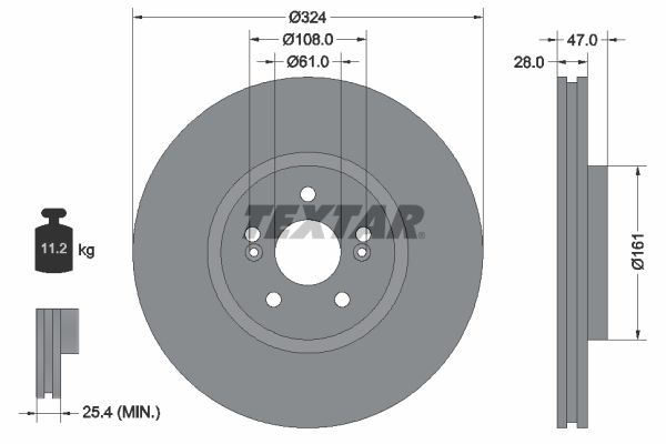 TEXTAR PRO+ 92119405 Bremsscheibe Bremsscheibendicke: 28mm, Ø: 324mm