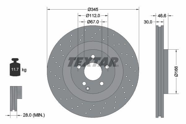 TEXTAR PRO+ 92123705 Bremsscheibe Bremsscheibendicke: 30,0mm, Ø: 345mm