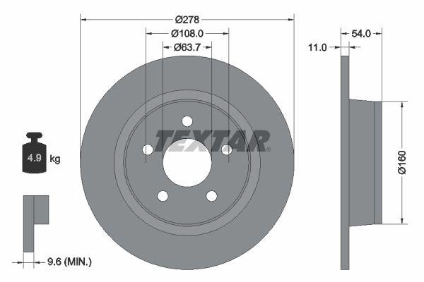 TEXTAR PRO 92124903 Bremsscheibe Bremsscheibendicke: 11mm, Ø: 278mm