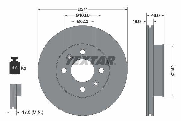 TEXTAR PRO 92134103 Bremsscheibe Bremsscheibendicke: 19,0mm, Ø: 241mm