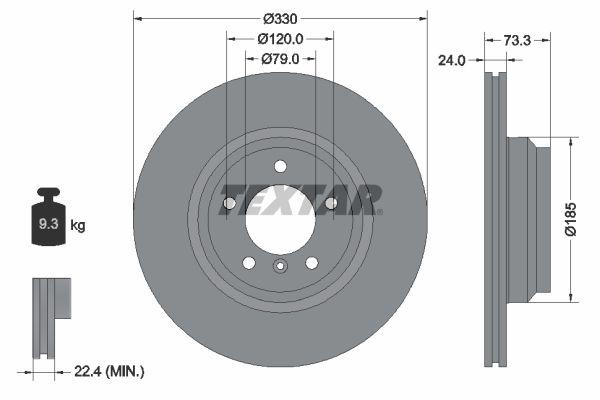 TEXTAR PRO+ 92137805 Bremsscheibe Bremsscheibendicke: 24mm, Ø: 330mm