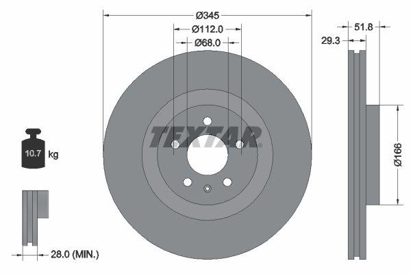 TEXTAR PRO+ 92160205 Brake Disc Brake Disc Thickness: 29,3mm, Ø: 345mm