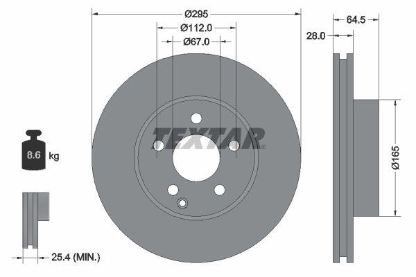 TEXTAR PRO+ 92163205 Bremsscheibe Bremsscheibendicke: 28mm, Ø: 295mm