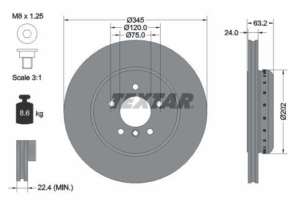 TEXTAR PRO+ 92182525 Bremsscheibe Bremsscheibendicke: 24mm, Ø: 345mm
