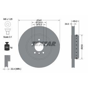 TEXTAR PRO+ 92182525 Bremsscheibe Bremsscheibendicke: 24,0mm, Ø: 345mm