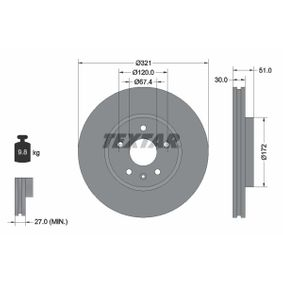 TEXTAR PRO+ 92187005 Bremsscheibe Bremsscheibendicke: 30,0mm, Ø: 321mm