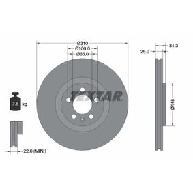 Bremsscheibe Bremsscheibendicke: 25,0mm, Ø: 310mm mit OEM-Nummer 6R0 615 301B