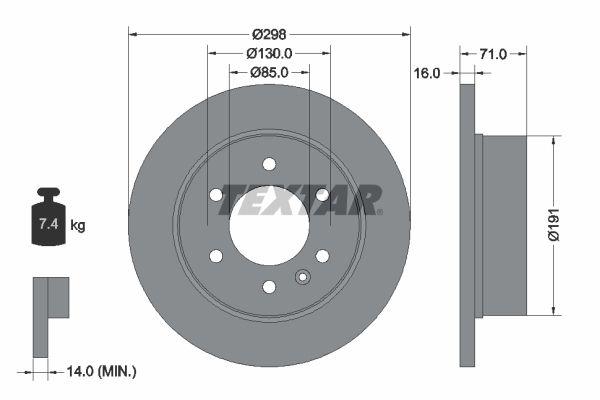 TEXTAR PRO 93143303 Bremsscheibe Bremsscheibendicke: 16,0mm, Ø: 298mm