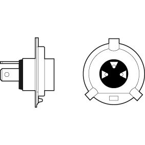 Glühlampe, Fernscheinwerfer H4, 60/55W, 12V 032509 VW GOLF, PASSAT, POLO