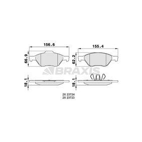 Комплект спирачно феродо, дискови спирачки височина 1: 66,9мм, височина 2: 62,2мм, дебелина 1: 18,1мм, дебелина 2: 18,1мм с ОЕМ-номер B3YF3323Z