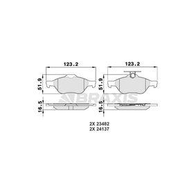 Bremsbelagsatz, Scheibenbremse Höhe 1: 51,9mm, Dicke/Stärke 1: 16,5mm mit OEM-Nummer 3074 2031