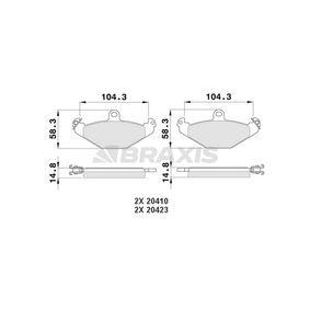 Bremsbelagsatz, Scheibenbremse Höhe 1: 58,3mm, Dicke/Stärke 1: 14,8mm mit OEM-Nummer 7701203 124