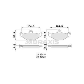 Bremsbelagsatz, Scheibenbremse Höhe 1: 58,3mm, Dicke/Stärke 1: 14,8mm mit OEM-Nummer 7701 203 124