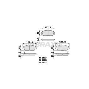 Bremsbelagsatz, Scheibenbremse Höhe 1: 49mm, Dicke/Stärke 1: 15,5mm mit OEM-Nummer 58101 25A00