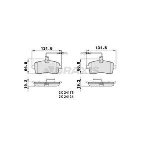 Bremsbelagsatz, Scheibenbremse Höhe 1: 66,8mm, Dicke/Stärke 1: 19,2mm mit OEM-Nummer E172236