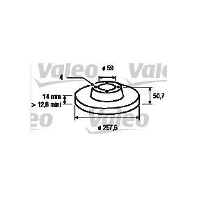 Bremsscheibe Bremsscheibendicke: 14mm, Felge: 4-loch, Ø: 257,5mm mit OEM-Nummer 82434169