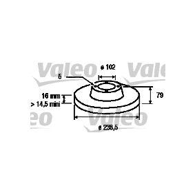 VALEO  186178 Bremsscheibe Bremsscheibendicke: 16mm, Felge: 5-loch, Ø: 238,5mm