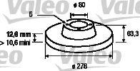 VALEO  186180 Bremsscheibe Bremsscheibendicke: 12,6mm, Felge: 5-loch, Ø: 278mm