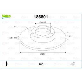 Bremsscheibe Bremsscheibendicke: 13,5mm, Felge: 5-loch, Ø: 294mm mit OEM-Nummer 1140278