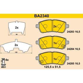 Bremsbelagsatz, Scheibenbremse Breite: 125,5mm, Höhe: 51,5mm, Dicke/Stärke: 16,5mm mit OEM-Nummer 24285