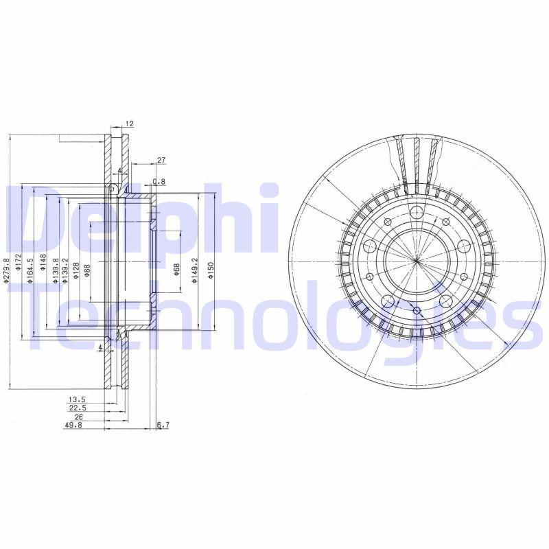 DELPHI  BG2719C Bremsscheibe Bremsscheibendicke: 26mm, Lochanzahl: 5, Ø: 280mm