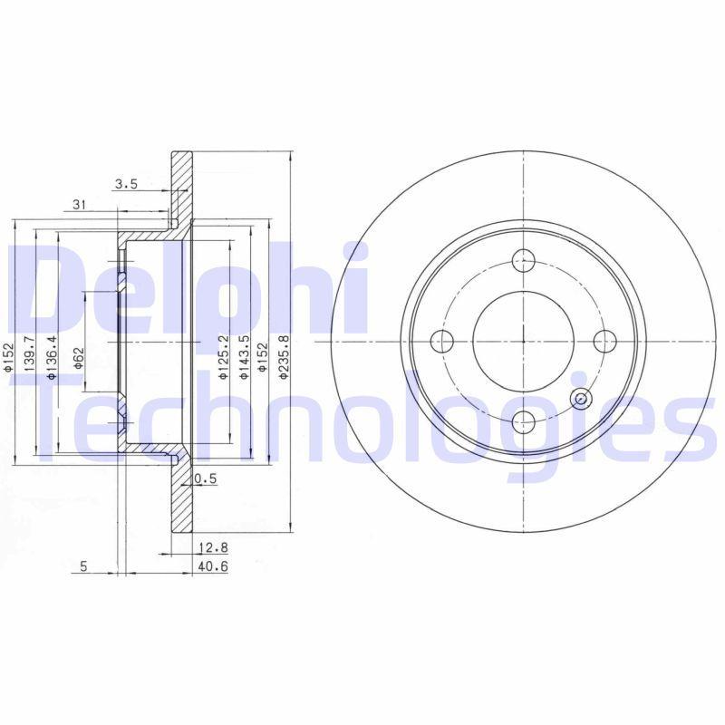 DELPHI  BG2910C Bremsscheibe Bremsscheibendicke: 13mm, Lochanzahl: 4, Ø: 236mm