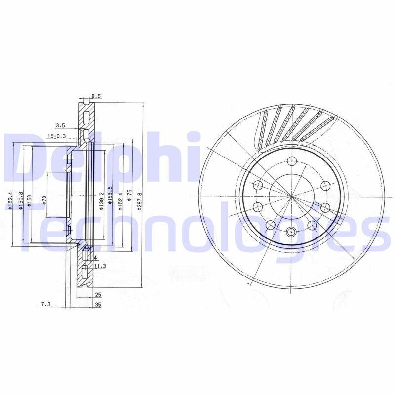DELPHI  BG3142C Bremsscheibe Bremsscheibendicke: 25mm, Lochanzahl: 5, Ø: 288mm