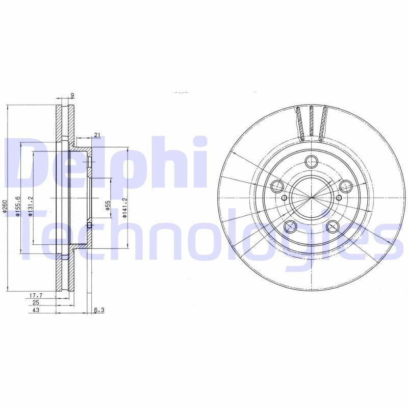 DELPHI  BG3347C Bremsscheibe Bremsscheibendicke: 25mm, Lochanzahl: 5, Ø: 260mm