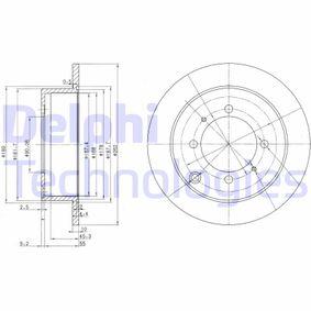 DELPHI  BG3400C Bremsscheibe Bremsscheibendicke: 10mm, Lochanzahl: 4, Ø: 262mm