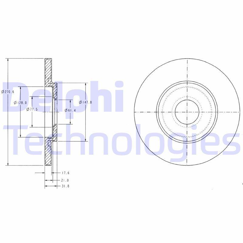 DELPHI  BG3421C Bremsscheibe Bremsscheibendicke: 13mm, Lochanzahl: 4, Ø: 266mm