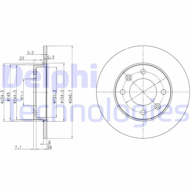 DELPHI  BG3653C Bremsscheibe Bremsscheibendicke: 9mm, Lochanzahl: 4, Ø: 247mm