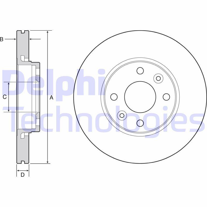 DELPHI  BG4459C Brake Disc Brake Disc Thickness: 22mm, Ø: 258mm
