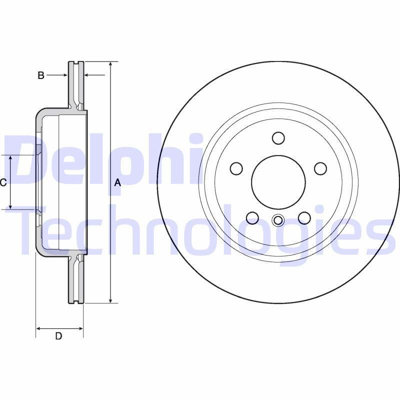 DELPHI  BG4664C Bremsscheibe Bremsscheibendicke: 20mm, Lochanzahl: 5, Ø: 330mm