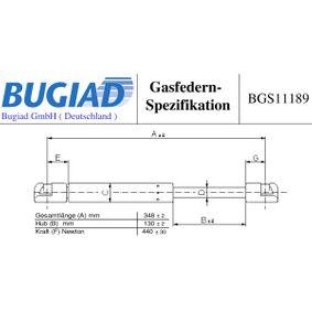 BUGIAD Heckklappendämpfer BGS11189 für MERCEDES-BENZ SLK (R170) 200 Kompressor (170.444) ab Baujahr 03.2000, 163 PS