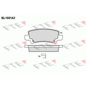 Bremsbelagsatz, Scheibenbremse Höhe: 37,84mm, Dicke/Stärke: 16,1mm mit OEM-Nummer 04466 02040