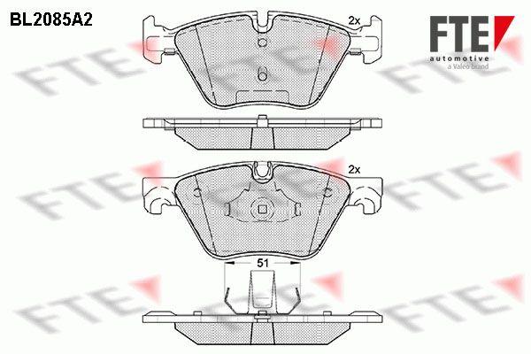 FTE  BL2085A2 Bremsbelagsatz, Scheibenbremse Breite 2: 155,1mm, Breite: 154,5mm, Höhe 2: 63,6mm, Höhe: 63,4mm, Dicke/Stärke 2: 19,3mm, Dicke/Stärke: 20,3mm