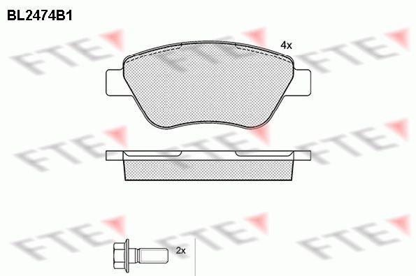 FTE  BL2474B1 Bremsbelagsatz, Scheibenbremse Höhe: 53,2mm, Dicke/Stärke: 17,8mm
