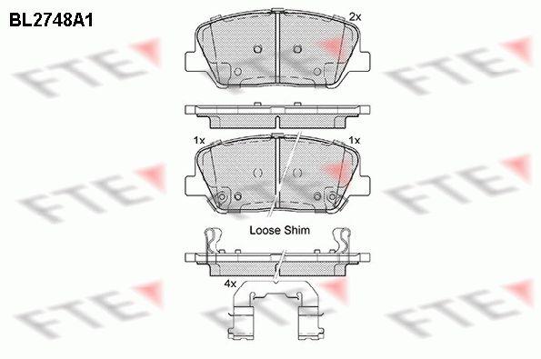 FTE  BL2748A1 Bremsbelagsatz, Scheibenbremse Höhe: 60mm, Dicke/Stärke: 16,9mm