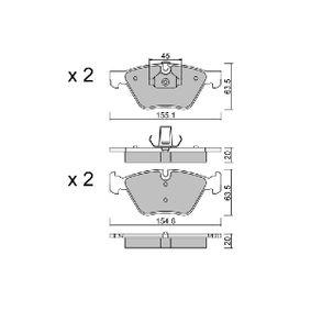 Bremsbelagsatz, Scheibenbremse Breite 1: 154,6mm, Breite 2: 155,1mm, Höhe 2: 63,5mm, Dicke/Stärke 2: 20mm mit OEM-Nummer 34116799166