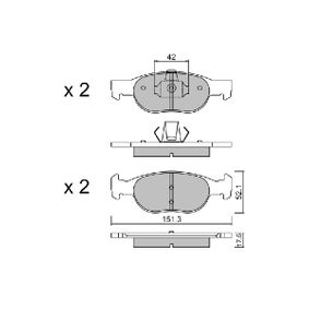 Brake Pad Set, disc brake BPFI-1002 PUNTO (188) 1.2 16V 80 MY 2000