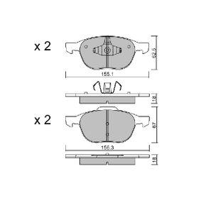 Bremsbelagsatz, Scheibenbremse Breite 1: 155,1mm, Breite 2: 156,3mm, Höhe 1: 62,5mm, Höhe 2: 67mm, Dicke/Stärke 2: 18mm mit OEM-Nummer 1508074