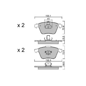 Комплект спирачно феродо, дискови спирачки ширина 1: 155,1мм, ширина 2: 156,3мм, височина 1: 72,9мм, височина 2: 72,9мм, дебелина 1: 18,5мм, дебелина 2: 18,5мм с ОЕМ-номер 23912