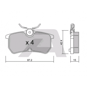 Brake Pad Set, disc brake Width: 87,2mm, Thickness: 15mm with OEM Number 1 810 990