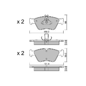 Bremsbelagsatz, Scheibenbremse Breite 1: 151,4mm, Breite 2: 150,2mm, Höhe 1: 59,9mm, Höhe 2: 66mm, Dicke/Stärke 2: 19,5mm mit OEM-Nummer A 002 420 44 20